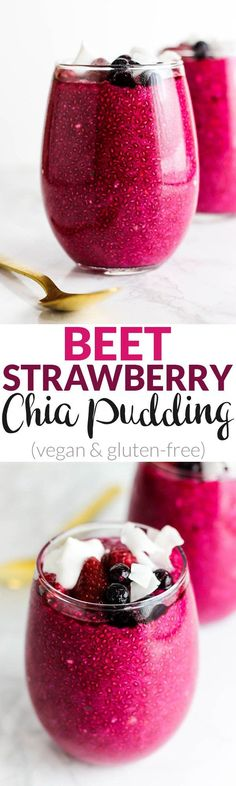 You'd never guess there are vegetables hiding in this pretty pink Beet Strawberry Chia Pudding! A satisfying breakfast or snack that's vegan & gluten-free.
