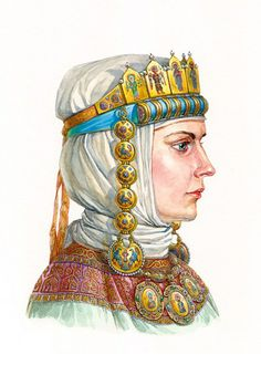 Ancient Russian Princess in her gold enamelled tiara with temple pendants…