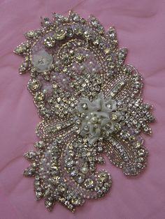 1 Swarovski Crystal & Pearl Beaded Wedding Gown Applique $158.00  http://www.allysonjames.net/item_8773/1-Swarovski-Crystal-Pearl-Beaded-Wedding-Gown-Applique.htm