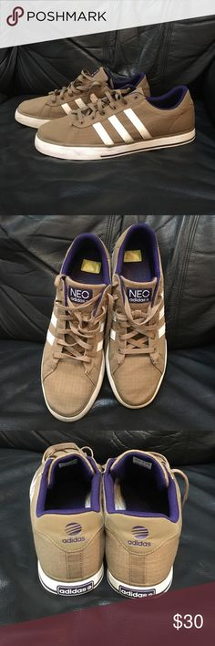 ADIDAS NEO Sneakers ADIDAS NEO Sneakers. Olive green & white, with purple inside. Worn twice. As is. In excellent condition. NO BOX. Adidas Shoes Sneakers