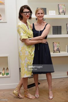Creative Director and President for J.Crew Jenna Lyons (L) and Amanda Brooks attend the Amanda Brooks book signing at J Crew on May 28, 2015 in New York City.