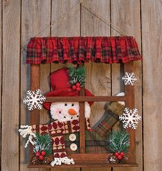 Kp Creek Gifts - Snowman Window 16 High By Wide. Over Shelf With Spinning Wheel Christmas Door Decorations, Christmas Frames, Christmas Wood, Xmas Ornaments, Homemade Christmas, Christmas Projects, Christmas Holidays, Christmas Wreaths, Christmas Gifts
