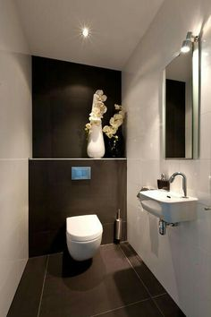 Space Saving Toilet Design for Small Bathroom - Home to Z Space Saving Toilet, Small Toilet Room, Guest Toilet, Downstairs Toilet, Bathroom Design Small, Bathroom Layout, Bathroom Interior, Modern Bathroom, Master Bathroom