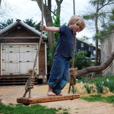 """Tree Swing comes with 25' of rope;   H 2.50"""" W 21"""" D 7.75""""  brand: Peg and Awl material: reclaimed oak, tung oil, manila rope"""