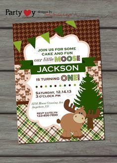 Moose Birthday Invitation, Little Moose Invitation, Woodland Birthday Inviation, Houndstooth Birthday Invitation on Etsy, $10.00