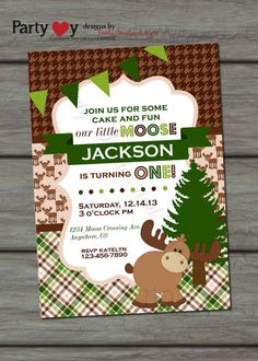 Moose Birthday Invitation, Little Moose Invitation, Woodland Birthday Inviation, Houndstooth Birthday Invitation on Etsy, $10.00