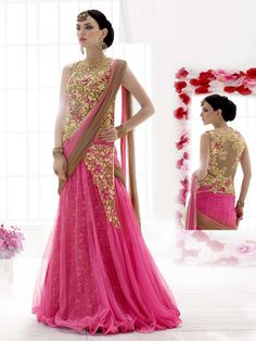 Luxurious pink and dark beige color gown style #Net saree embellished with zari and stone work. Item code: SAV3807 http://www.bharatplaza.com/new-arrivals/sarees.html