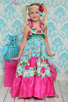 Cora's Tiered Top, Sun Dress, and Maxi Dress PDF Pattern by Create Kids Couture $10.00 sizes 6-12 months to 8 girls