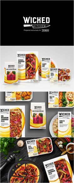 From Niche to Mainstream, Brand Creation for Vegan Food Range Design Agency: Elmwood Brand / Project Name: Tesco Wicked Kitchen Location: United Kingdom Category: World Brand & Packaging Design Society Food Branding, Food Packaging Design, Packaging Design Inspiration, Branding Ideas, Brand Packaging, Vegan Food Brands, Pizza Bowl, Organic Packaging, Sourdough Pizza