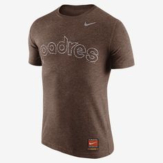 REPRESENT YOUR TEAM The Nike CP Tri Wordmark (MLB Padres) Men's T-Shirt features a classic team print on super-soft fabric for pure comfort. Product Details Rib crew neck with interior taping MLB Cooperstown Collection Fabric: 50% polyester/25% cotton/25% rayon Machine wash Imported