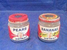 Vintage Heinz Baby Food jars, 1960's.
