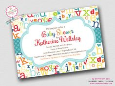 Colorful ABC Alphabet Baby Shower Invitation (Digital File OR Printed Cardstock Cards Also Available) on Etsy, $18.00