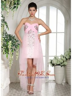 Baby Pink Beaded Over Bodice High-low Sweetheart Prom Dress For Custom- $165.38  http://www.fashionos.com  | where to buy prom dress | prom dress online shop | discount prom dress | prom dress websites | low price prom dress | fitted prom dress | pretty prom dress for 2013 |