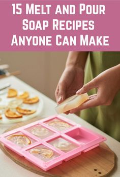 15 Melt and Pour Soap Recipes Anyone Can Make If you are keen to make soap, but a little nervous of the processes involved in making it from scratch, melt and pour soap could be the perfect solution for you. Handmade Soap Recipes, Soap Making Recipes, Handmade Soaps, Diy Soaps, Homemade Soap Bars, Soap Melt And Pour, Lotion Bars, Goat Milk Soap, Home Made Soap