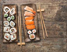 Sushi rolls, maki, nigiri. Seafood by LiliGraphie on @creativemarket