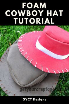 Follow this step by step tutorial on how to make a cowboy hat from foam for Halloween costumes or dress up boxes Easy Sewing Projects, Sewing Projects For Beginners, Sewing Hacks, Sewing Crafts, Chapeau Cowboy, Cowboy Hats, Costume Halloween, Halloween Sewing, 31 Days Of Halloween