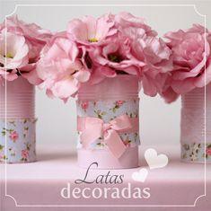DIY: latas de molho de tomate pintadas e decoradas viraram lindos vasinhos. #joyinthebox #diy #latasdecoradas