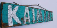 Custom Turquoise Beach Sign with Hammered Metal by MangoSeed, $45.00
