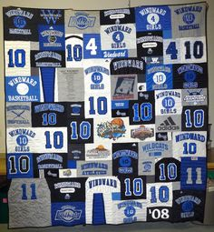 Making a T-shirt Quilt for organized group sport athletes with numbers on their T-shirts or jerseys.