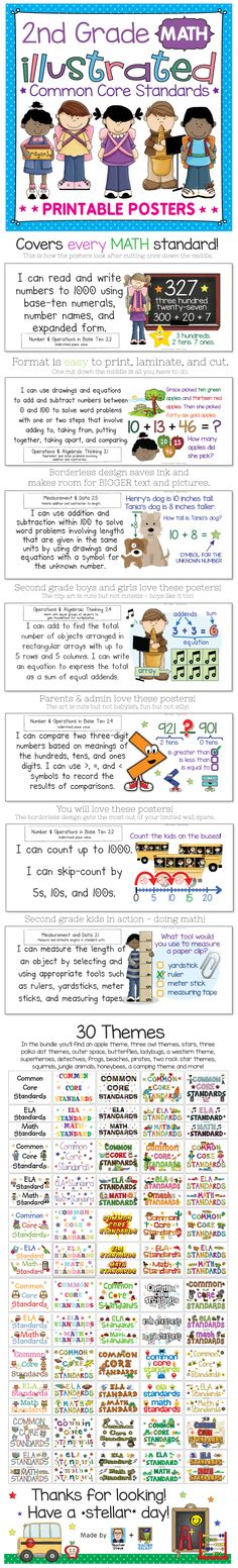 Second grade math Common Core Standards posters! I updated them this week to include some awesome new fonts by Kimberly Geswein and clip art by Scrappin Doodles. ELA available, too. $