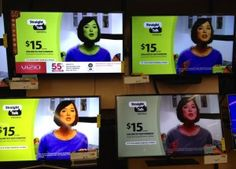 This is how I explain to lawyers and law firms that colors look different on different on different computer monitors. Walmart TV display.