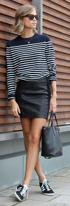 Couro + listras + tênis - Thefashioneaters Black Leather Skirt