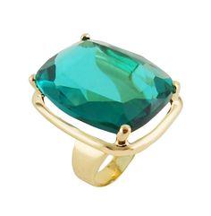 $139 Anel Brollo Pedra Cristal Turmalina Paraíba Folheado Ouro (DL-023220)