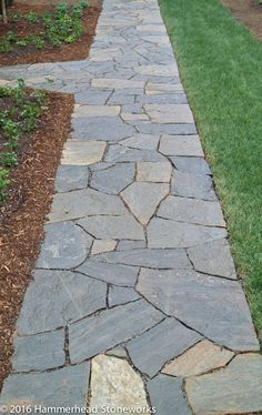 backyard designs – Gardening Ideas, Tips & Techniques Flagstone Pathway, Outdoor Walkway, Stone Walkway, Walkway Ideas, Garden Stepping Stones, Cottage Garden Plants, Pathways, Garden Paths, Backyard Landscaping