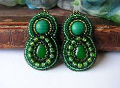 Green beadwork Earrings Jade Malachite cabochons