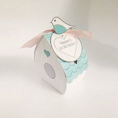 Bird House Favor Box instant download teal by CreativePearPrintabl
