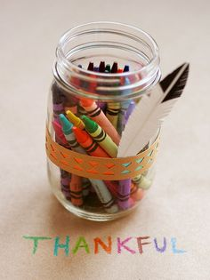 Native American Headband Crayon Jar ~ what a fun idea to have a coloring table for the kids to play on while waiting for dinner and guests to arrive!