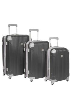 Malibu 3-Piece Hardside Spinner Luggage Set in Gray Unique 4 corner riveted protective shells protect not only your belongings, but also enhance the overall durability; Built from ABS composite, which flexes to absorb impact when under stress and then returns back to its original shape; Aluminum self-locking telescopic handle system, with push-down locking for easy, single-hand use 4-wheel spinner system provides the smoothest and most effortless movement for your life on the go; Fully lined…