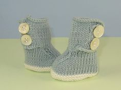 Baby 2 Button Booties Bootees Boots pattern on Craftsy.com