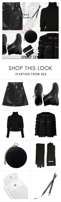 """Black Booties"" by ilona-828 ❤ liked on Polyvore featuring Maje, Creatures of the Wind, Carvela, Moschino, Chantecaille, StreetStyle and blackbooties"