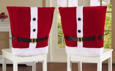Amazon.com - Collections Etc - Red Santa Suit Holiday Dining Chair Covers - Dining Chair Slipcovers  DIY???