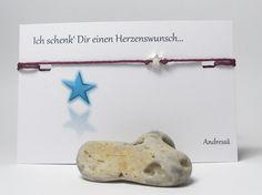 925 Silber ♥ Wunschbänsel Funkel Stern ♥ in Rot von Andressâ auf DaWanda.com