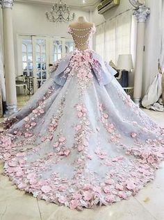 Custom Made Great Ball Gown Wedding Dresses Pretty Flowers Quinceanera Dresses, Ball Gown Long Backless Wedding Gowns Light Blue Quinceanera Dresses, Quinceanera Ideas, Quinceanera Decorations, Evening Dresses, Prom Dresses, Graduation Dresses, Dress Prom, Flower Dresses, Kohls Dresses