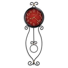 Addison Wall Clock, 625-392, Antique red dial with gold Arabic numerals & antique gold spade hands