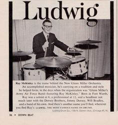 1960 Ludwig Drums ad featuring Ray McKinely (the New Glenn Miller Orchestra)