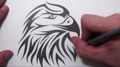 How to Draw an American Eagle Head - Tribal Tattoo Design Style