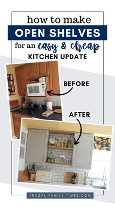 How to update an old kitchen with modern open shelves. DIY budget kitchen renovation with painted cupboards, subway tile backsplash, faux marble countertops, industrial sink and faucet and more storage. All on a very small budget. Diy Kitchen Cabinets, Old Kitchen, Kitchen On A Budget, Updated Kitchen, Diy On A Budget, Beautiful Kitchen Designs, Beautiful Kitchens, Cool Kitchens, Home Decor Furniture