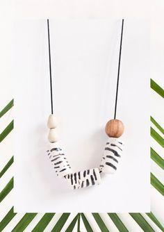 Zebra Necklace  My Jungle by lamalconttenta on Etsy.