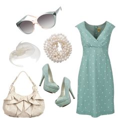 Blue dot dress with white