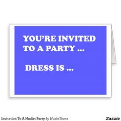 Invitation To A #Nudist Party #Greeting Card
