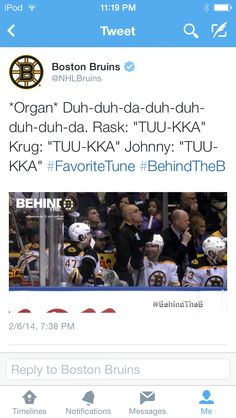 Only Tuukka Rask would sing along to his theme song when he's not even playing #Bruins #Humor