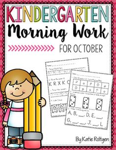 Kindergarten Morning Work for October -You get 25 pages of high quality student friendly printable worksheet pages for your kinder students. Various math and ELA concepts are included. These work great as seat work to help students stay engaged. Plus you grow student independence while practicing and reviewing essential K skills.