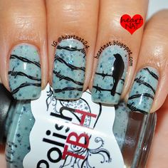I used Polish TBH Dark & Difficult Times and stamped using BM 323 (barbed wire) and MoYou London Pro 07 XL (bird) in Konad Black.