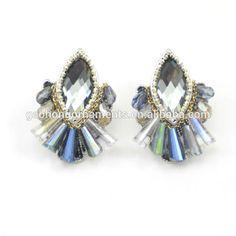 Blue Crystal earring clear Rhinestone Dangle Post and Drop Bridal Wedding Bridesmaid Jewelry