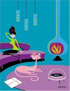 Pink Panther & Fireplace