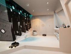 bathroom, White Bathroom Design Ideas With White Bathroom Floor Design With Bathroom Wall Design With Ceiling Lamps For Bathroom Ceiling Design Ideas: Luxurios Bathroom with Fireplace Design Best Bathroom Designs, Modern Bathroom Design, Bathroom Interior, Bathroom Ideas, Minimal Bathroom, Small Bathroom, Bathroom Plants, White Bathroom, Bathroom Wall